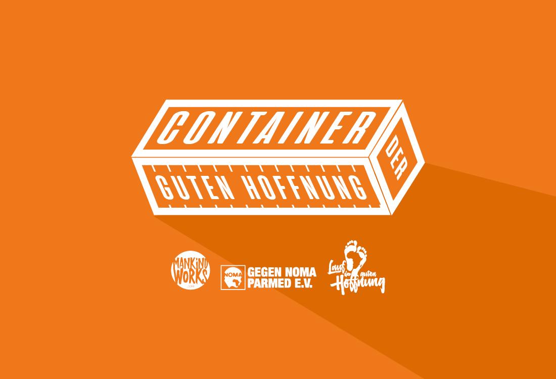 Das Logo vom Container der guten Hoffnung auf Orange