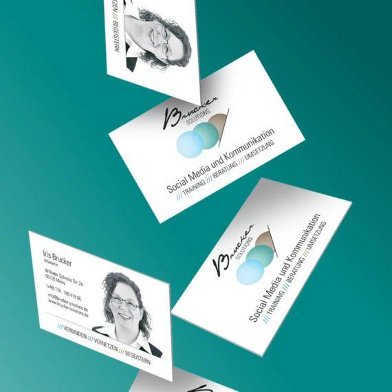 Ansicht der Visitenkarten von Brucker Solutions