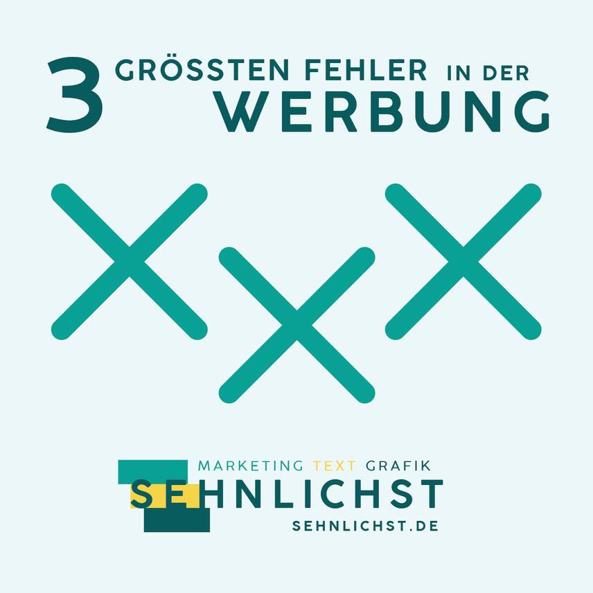 Ein Banner mit dem Blogartikel-Titel, einem Icon und dem Logo der Werbeagentur Sehnlichst