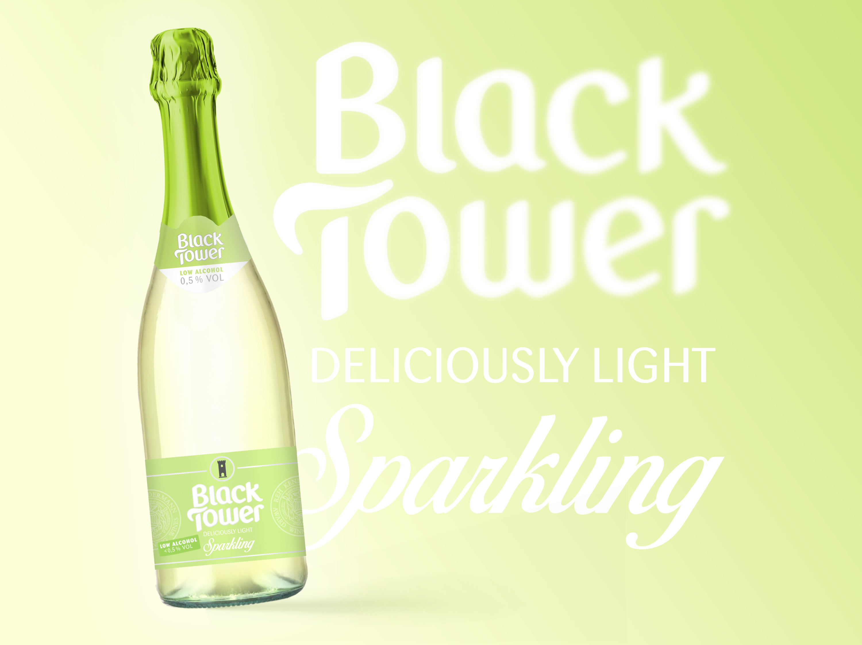 Eine Flasche Black Tower Low Alcohol: Deliciously Light Sparkling
